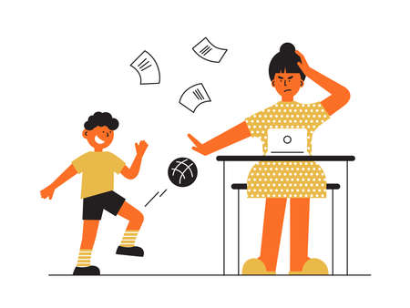 Frustrated parent concept. Tired woman trying work at home using laptop. Little boy soccer player kicks ball, disturbs mother in working place. Busy freelancer mom. Child and job. Vector illustration Vettoriali