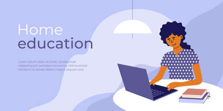 Online education from home. E-learning concept. Young woman sitting behind table studying using laptop and books. Student girl learns remotely. Design template for banner layout. Vector illustration Ilustração