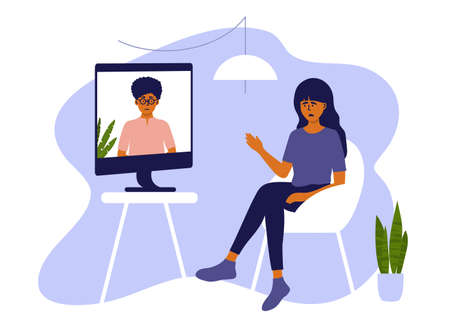 Psychotherapy online session or video call. Sad woman sitting on chair at home and talking to female psychologist on computer screen. Psychology internet consultation. Medical care vector illustration