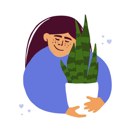 Houseplant lover concept. Cute girl hugs pot of Sansevieria. Young woman holding snake plant growing in home garden. Smiling lady embracing flowerpot. Love and care of potted plant vector illustration