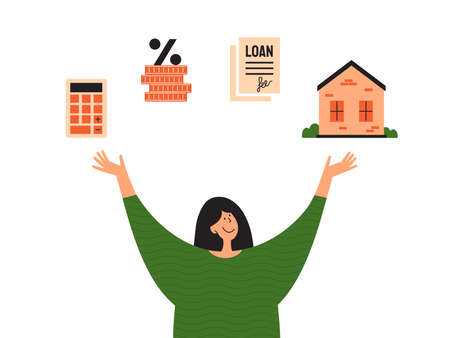 Stages of mortgage and calculating rate concept. Young woman planning buy house and showing or looking to way loan. Process of home mortgage. Happy girl holding dream in hands. Ad, vector illustration