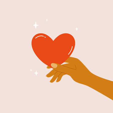 Human hand holding heart in fingers. Giving and sharing love to someone. Charity, donation or volunteer, help and people support concept. Health and care icon. Heart shaped symbol vector illustration