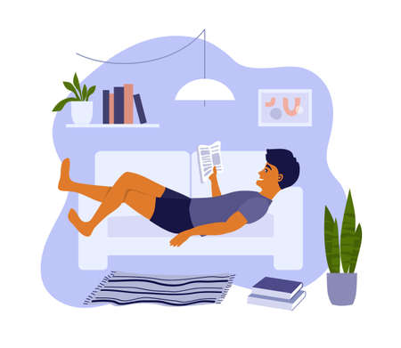 Reading guy lying on sofa in apartment. Young man relaxing at home with book or magazine. Student studying or preparing for exam. Education, leisure or resting in cozy interior vector illustration. Ilustração