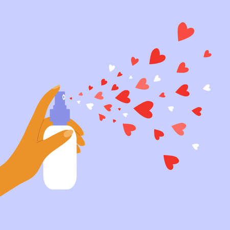 Aerosol with hearts. Giving and sharing love concept. Human hand holding dispenser and spraying with red heart shapes. Health, body or beauty care. Charity, donation or voluntary vector illustration. Ilustração