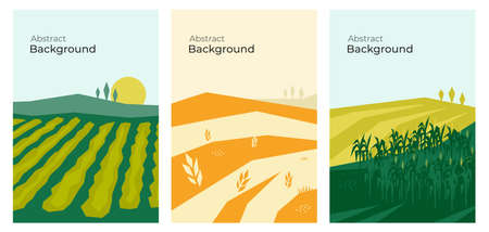 Vector illustrations with farm land, agricultural fields, hills and landscape. Summer and autumn nature. Banners with agriculture or farming. Set of abstract backgrounds. Flyer, poster, brochure cover