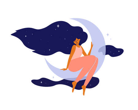 Cute girl with long hair sitting on moon. Happy woman dreaming in night sky and stars. Wellbeing, self and body care, slow life. Healthy sleep concept. Modern witch, crescent moon vector illustration
