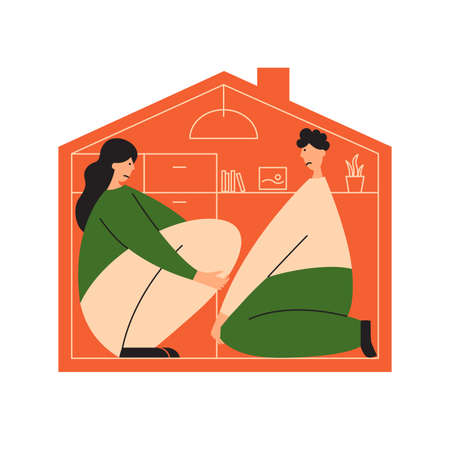 Sad people sit in cramped apartment. Small family living space home. Frustrated man and woman in tiny house. Upset couple in limited room. Big house dream. Mortgage or loan demand vector illustration Vektorgrafik