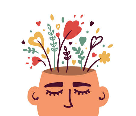 Mental health, psychology vector concept. Human head with flowers inside. Positive thinking, self care, healthy slow life. Wellbeing, wellness mind. Acceptance, blooming brain abstract illustration Banco de Imagens - 155210505
