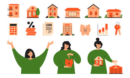 Vector set real estate icons. Stages of mortgage, calculating rate, home loan concept. Happy woman investing money, planning buy house. Cute girl putting coin into piggy bank. Illustrations collection Ilustração