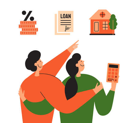 Stages of mortgage and calculating rate concept. Family couple planning buy new house and choose way loan. Process of home mortgage. Happy people looking for real estate. Property vector illustration