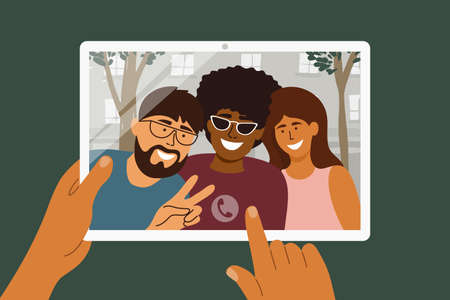 Online video call of diverse people by digital tablet. Multiethnic group of person. Happy friends hug, greet and watch to device screen. Mobile app for meeting and talking remotely vector illustration