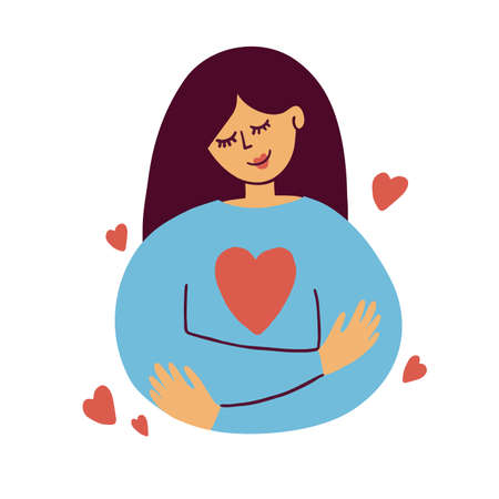 Cute girl hugs herself. Self care, love yourself icon, body positive illustration. Happy woman and red heart shape inside. Slow life, wellness, me time, acceptance concept. Valentines vector postcard Banco de Imagens - 155061960
