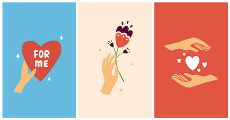 Set of abstract vectors with heart shapes. Female hand holding flower. Self care, love yourself, acceptance concept. Hand drawn illustrations for cosmetics or beauty products, poster, postcard, banner