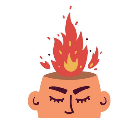 Vector illustration of anger, fury, annoyance. Burnout, stress, emotional problem abstract concept. Burning brain. Aflame mind. Angry man or woman. Human head and fire flame from above. Mental illness