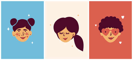 Set of female faces different ages. Girl, young woman, elderly lady. Characters of teenager, adult and old people in love. Feminism, girl power vector illustration. Female portraits for women day card