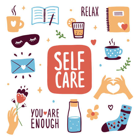 Collection of self care icons. Sleeping mask, diary, letter to yourself, bottle of water, cute socks, cup of coffee or herbal tea. Love and relax, slow life. Female body or mental health illustrations Ilustração