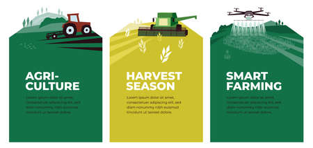 Set of vectors with agriculture, harvest, smart farming. Illustrations of plowing tractor in field, combine harvester, drone in farm land. Landscape scenes. Agricultural banners. Design poster, flyer Ilustração