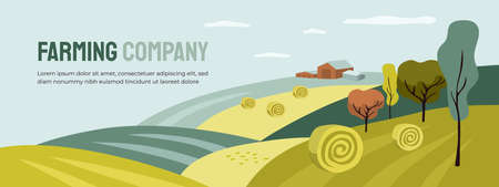 Design for farming with agricultural field and building. Farm landscape, hay rolls, panoramic scenery of countryside. Horizontal illustration of harvest, autumn nature. Vector banner, flyer, layout
