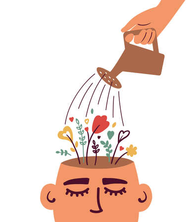 Mental health care, psychological therapy concept. Human hand with watering can irrigates blossom flowers inside head. Self care, healthy life. Psychologist help. Blooming brain vector illustration