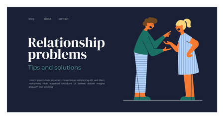 Relationship problems, family conflict concept. Swearing man and woman shout at each other. Quarrel of husband and wife. Psychologist blog layout, therapist help. Arguing couple vector illustration Ilustração