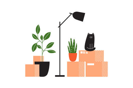 Carton boxes with stuff, lamp, houseplants and cat waiting for relocation. House moving service concept. Cardboard packages with household items. Moving into new home or apartment. Vector illustration