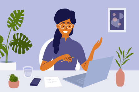 Young woman sitting at table working or studying using laptop. Job interview, online employment. Video call or networking, business talking to colleagues. Workplace, home office vector illustration