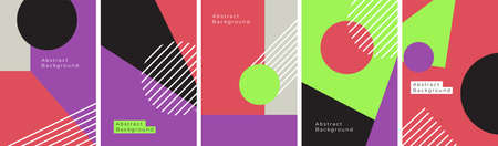 Modern abstract backgrounds with geometric colorful shapes, stripes and forms. Set of neon colors posters. Contemporary artwork. Mid century cover design, Bauhaus illustration. Vector elements collage Ilustração