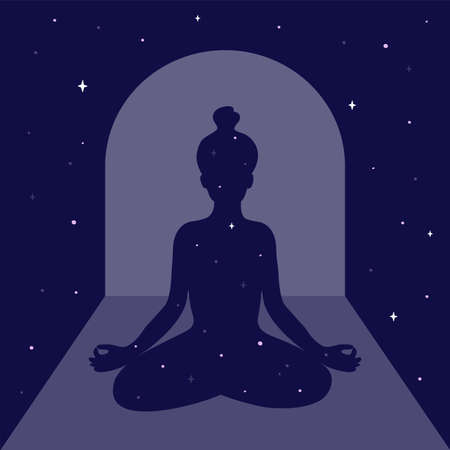 Mindfulness meditation or practice, body scan concept. Female silhouette in arch on night sky and moon light. Meditating woman. Universe and stars inside and around girl. Self care vector illustration Ilustração