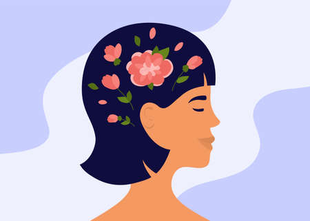Blooming brain. Flowers inside woman head. Female mental health, psychology. Mindfulness, positive thinking, self care. Love yourself, slow life, wellness mind concept. Acceptance vector illustration