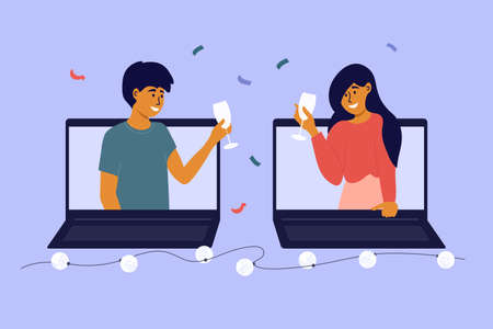 People celebrate event remotely. Meeting friends on virtual party. Online dating, birthday, christmas, new year. Man and woman make video call by laptop, talk, drink wine. Digital vector illustration Vector Illustratie