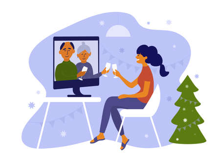 Young woman and her parents celebrate Christmas or New year use computer. Seniors and daughter make online video call on holidays. Virtual talk of elderly people and girl. Family vector illustration 矢量图像