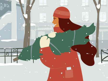 Cute girl in warm clothes walking down snowy street carrying christmas tree in hands. Winter time. Merry Christmas, Happy new year postcard. Young woman and city life in holidays. Vector illustration