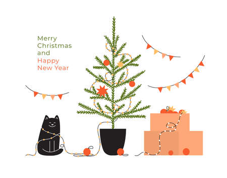 Greeting card with text Merry Christmas and Happy new year. Celebration holidays at home. Postcard with decorated Christmas tree, cat in garland, box with festive decor. Cartoon vector illustration