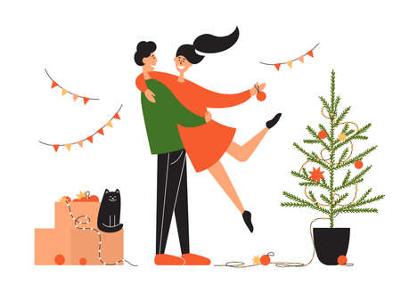 Young family couple decorate Christmas tree. Holidays at home. Man holds woman in hands. Merry Christmas, Happy new year postcard. Cat sits on box with festive decor and garlands. Vector illustration