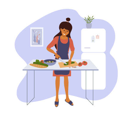 Stay home and cook healthy food yourself. Smiling woman cooking homemade meals in small cozy kitchen. Girl cutting vegetable to salad. Mother preparing dinner or lunch. Lifestyle vector illustration Ilustração