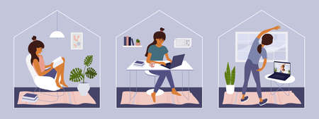 Stay and work from home illustrations. Cute girl sitting on chair reading book, watching online classes doing exercise. Young woman working or studying on laptop in home office. Quarantine vector set Ilustração
