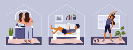Stay at home concept. Leisure activity, workout, sport, self care. Man reading on sofa, girl doing exercise. Woman combing hair in bathroom. Set of lifestyle vector illustrations. Quarantine isolation Ilustração