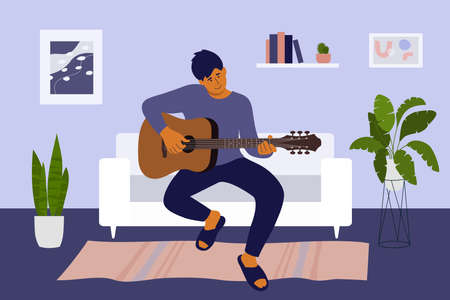 Handsome man staying at home and playing guitar. Guy sitting on sofa in living room learning to play on musical instrument. Relax leisure, music hobby, rest time, positive emotion. Vector illustration Ilustração