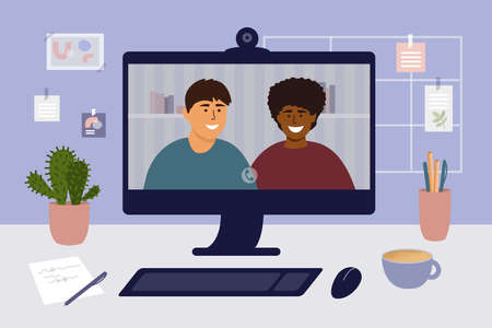 Stay and work from home. Video call colleagues or friends. Online conference, virtual meeting. Workplace, home office. People talking remotely. Man and woman on computer screen. Vector illustration