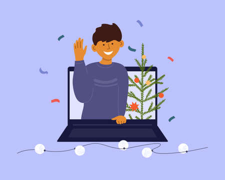 Holiday online video call. Distance celebration Merry Christmas, Happy New year. Young smiling man on digital screen laptop looking greeting with hand. Christmas tree. Virtual talk vector illustration