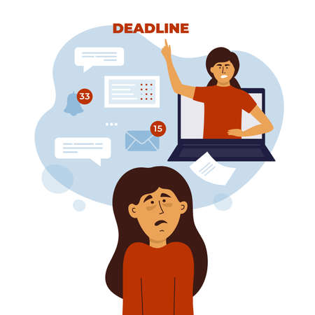 Job task stress, work anxiety, home office difficulties. Tired, scared and confused woman looks to angry boss showing deadline from laptop. Alarm, email notice, online video call. Vector illustration