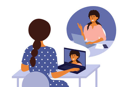 Online video call of business women, networking or web conference. Talking by laptop. Internet communication technology. Hiring, job interview, employment. Work place, home office vector illustration