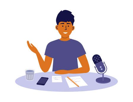 Man recording podcast show. Male radio host speaking into microphone. Home office or workspace. Podcaster making content. Social media broadcasting. Talking guy sitting at table vector illustration