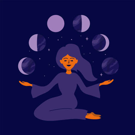 Girl holding moon phases in hands. Female nature, cyclicity, menstrual cycle. Womens health, life energy. Modern witch woman. Stars, crescent moon on night sky. Vector illustration for calendar, card Ilustração