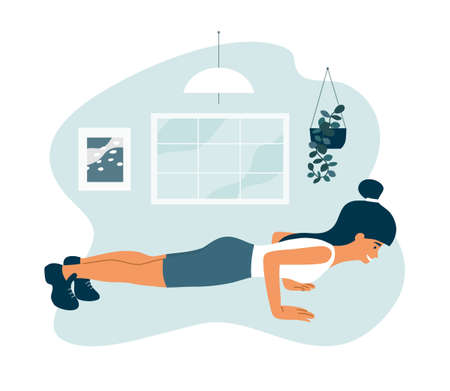 Stay home, keep fit and positive. Smiling woman doing push up. Sport, fitness workout. Physical activity, self and body care, healthy lifestyle. Quarantine isolation. Exercise, gym vector illustration