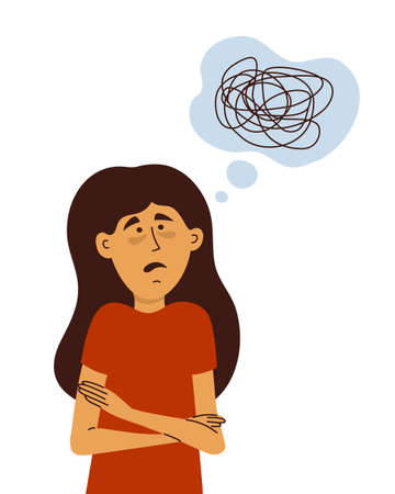 Sad depressed woman with tired face and confused thoughts. Girl with scared look shrugging self hugging. Mental health issues, depressive disorder, anxiety, stress. Female problem. Vector illustration