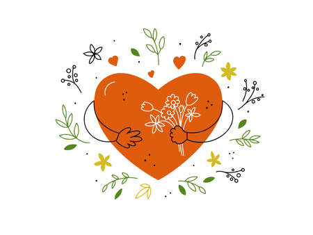 Big red heart with flowers in hands. Self or body care, love. Romance greeting card with cartoon character, leaves, doodle style elements. Happy Valentine or Mothers day postcard. Vector illustration