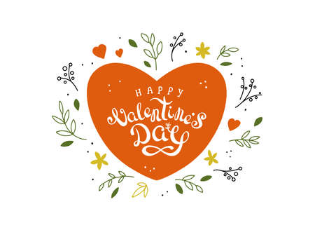 Big red heart with hand drawn vector lettering Happy Valentine's day. Valentine greeting card with flowers, leaves, doodle style elements, calligraphy. Cute holiday postcard. Love poster, illustration Ilustração