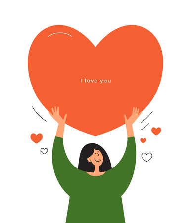 Happy girl holding big red heart in hands above head. Valentine postcard with inscription I love you. Greeting card for Mothers day. Love yourself, body positive concept. Self care vector illustration