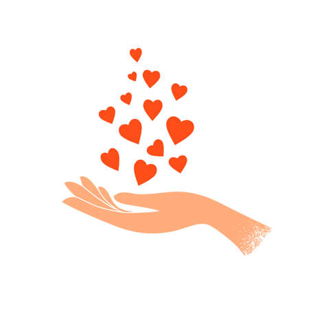 Female hand holding heart shapes. Sharing of love. Charity, volunteer work concept. Happy Valentine day postcard. Self or body care symbol. Romance holiday greeting card. Isolated vector illustration
